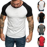 Summer Mens Raglan Short Sleeve T-Shirts Fitness Slim Fit Crew Neck Basic Tee