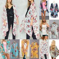 Women Chiffon Floral Printed Shawl Kimono Flare Sleeve Cardigan Loose Tops H-M