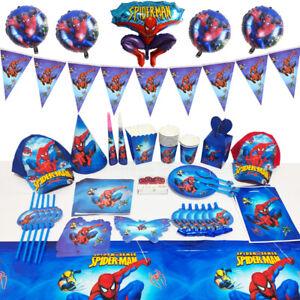Spiderman Boys Birthday Party Supplies Tableware Decor Plates Tablecloth Balloon