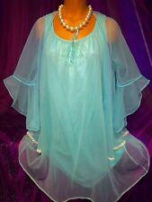 50's Aqua Vintage Nylon Sheer Chiffon Lace Peignoir Babydoll Gown S M L