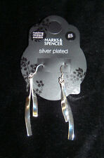 MARKS & SPENCER - SILVER PLATED - SILVER TWIST DROP - EARINGS - RRP £5.00 - NEW