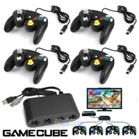 4 Port Gamecube NGC Controller/Wii U Adapter with 1-4 Black GameCube Controller