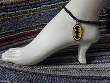 anklet beach stretchy handmade bat man Batman enamel charm ankle bracelet beads