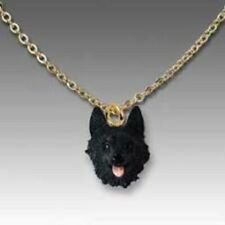 Dog on Chain Schipperke Resin Dog Head Necklace Jewelry Pendant