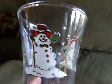 """Home Interior Homco Votive Cup clear with 3 painted Snowmen excellent 5 3/4"""" tal"""