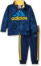adidas Baby Boy's Tricot Jacket and Pant Set, Navy/Yellow, Size: 9 Months