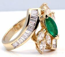 1ct Green Emerald & 1.90ct Diamond Cocktail Ring 14k Yellow Gold