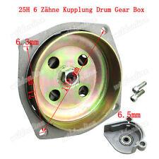 25H 6 Zähne Kupplung Drum Gear Box mit Stützlager Abdeckung für 49cc PocketBike