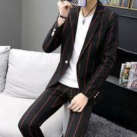 Men's Striped Slim fit Long sleeve Lapel 2 Piece Suit Blazer jacket One button