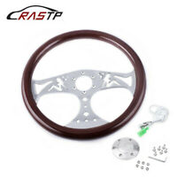 "6 Hole 380mm 15"" Classic Wood Grain Deep Dish with Hollow Angel Steering Wheel"