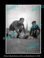 OLD POSTCARD SIZE PHOTO OF FITZROY FC GREAT HAYDN BUNTON & BUNTON Jr c1950s