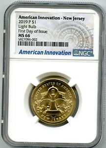 2019 P $1 NEW JERSEY NGC MS66 AMERICAN INNOVATION DOLLAR FIRST DAY ISSUE