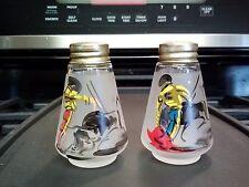 Souvenir frosted glass matador/bull fighter salt/pepper shakers, goldtone caps