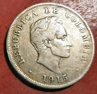 Colombia 50 Centavos 1915 plata @ bella @