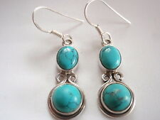 Double Gem Blue Turquoise 925 Sterling Silver Dangle Earrings Corona Sun Jewelry