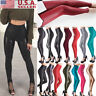 Women's Skinny Faux Leather Stretchy Pants Leggings Pencil Tight Trousers Pretty