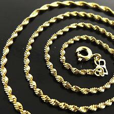 NECKLACE PENDANT CHAIN GENUINE 18K YELLOW GOLD FILLED SOLID ANTIQUE LINK DESIGN