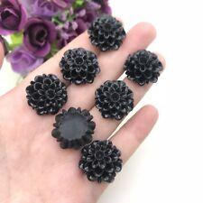 6pcs black  Chrysanthemum Flowers Resin Rose Bobby Pin Charms 20mm #