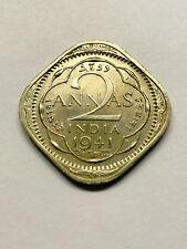 1941 British/India 2 Annas AU+ #15707