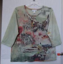 CJ Banks Plus Size 3X Scenic Print knit top, 3/4 sleeve, Sage Green NWT