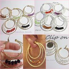 "CLIP ON 2.25"" Triple Hoop Gold or Silver Tone Acrylic Bead Non-Pierced Earrings"