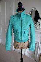 Superdry Leather Blake Bomber Jacket XS Aquamarine Green Vintage Style -60% off