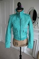 Superdry Leather Blake Bomber Jacket XS Aquamarine Green Vintage Style -60% off