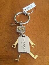 NWT • Coach Robot Gold & Silver tone with movable limbs • Keychain • F65429