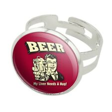Beer My Liver Needs a Hug Funny Silver Plated Adjustable Novelty Ring