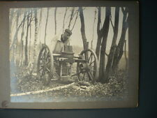 PHOTO ANCIENNE MACHINE A BOIS FORET OUTILS VINTAGE BUCHERON 1900