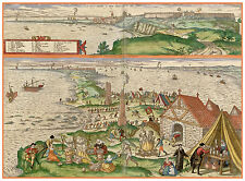 Cádiz tuna fishing Andalusia Spain bird's-eye view map Hogenberg ca.1598