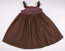 Polly Flinders Girls Size 6X Dress Brown Pink Hearts & Flowers Smocked