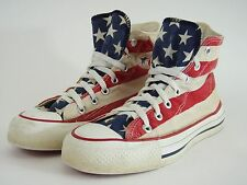 VINTAGE Rare Red Sole Converse Hi Top Sneakers Shoes Chuck Taylor American Flag