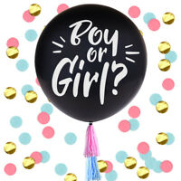 """Large 36"""" Black Gender Reveal Balloons Oh Baby Boy Girl Giant Confetti Balloons"""