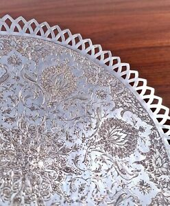 PERSIAN 875 SOLID SILVER FOOTED TRAY TRADITIONAL ENGRAVING W/ BIRDS 356G