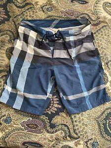 Authentic Burberry Brit Plaid Checkered Swim Trunks Mens Blue Size Medium