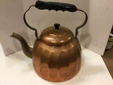 Antique Primitive German Copper Teapot Kettle, Brass Spout & Bakelite Handle