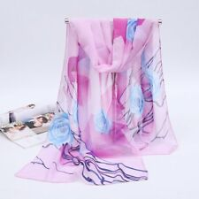Lilac Scattered Rose Branch Print Scarf Lady Women Chiffon Shawl Wrap (K2-04)