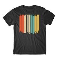 Retro 1970's Style Amsterdam Netherlands Cityscape Downtown Skyline T-Shirt