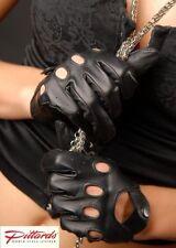 Gants de cuir noirs poignet pour femme