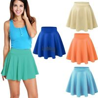 Women Ladies High Waist Candy Color Plain Skater Flared Pleated Short Mini LEBB