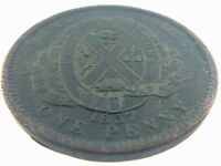 Bank Token 1837 One Penny Deux Sous Province Du Bas Lower Canada Circulated S346