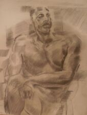 Nude Black Man Sitting-Legs Crossed-Pencil Drawing-21x 17-1970s-I.L. Winarsky