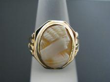 Cameo Ring in Bezel Setting c618 Elegant Vintage 10k Yellow Gold