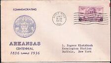 1936 Arkansas Centennial Stamp Sc782-21 Unknown Cachet Maker FDC