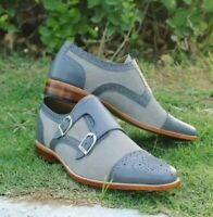 Men's Handmade Gray Round Toe Leather Shoes, Double Monk Strap Dress
