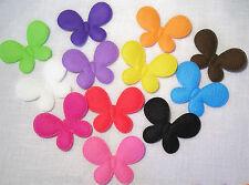 LOT de 12 appliques TRÈS GRANDS PAPILLON Multicolore * 40 x 50 mm * Tissu Gaufré