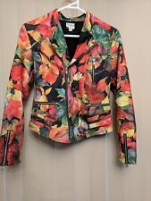 "AS NEW ""muska ink"" bomber / blazer zip jacket size 8 bright red / yellow / green"