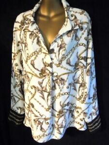 Joseph Ribkoff 16 Tunic top chain & paisley print contrast cuff BNWT (1727