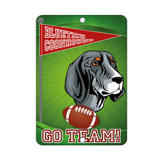 Football Fan Bluetick Coonhound Dog Metal Sign - 8 In x 12 In